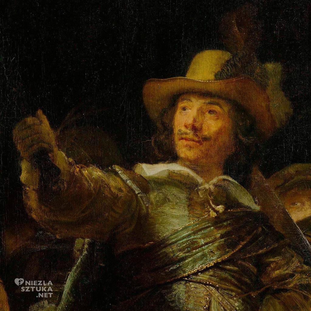 Jan Visscher Cornelisen (1610-1650) - Rembrandt Oddział kapitana Fransa Banninga Cocqa (Straż nocna), detal | 1642