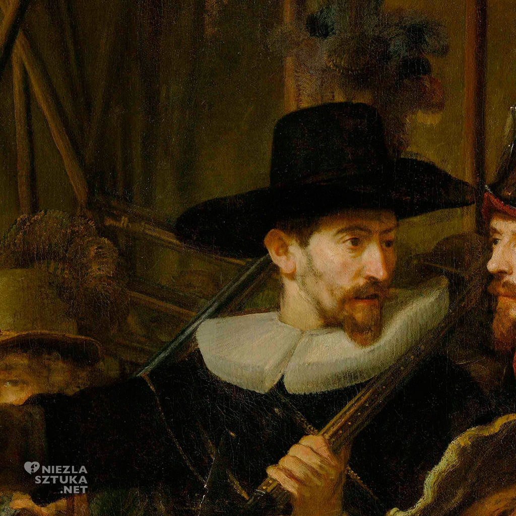 Sierżant Rombout Kemp (1597-1653) - Rembrandt Oddział kapitana Fransa Banninga Cocqa (Straż nocna), detal | 1642