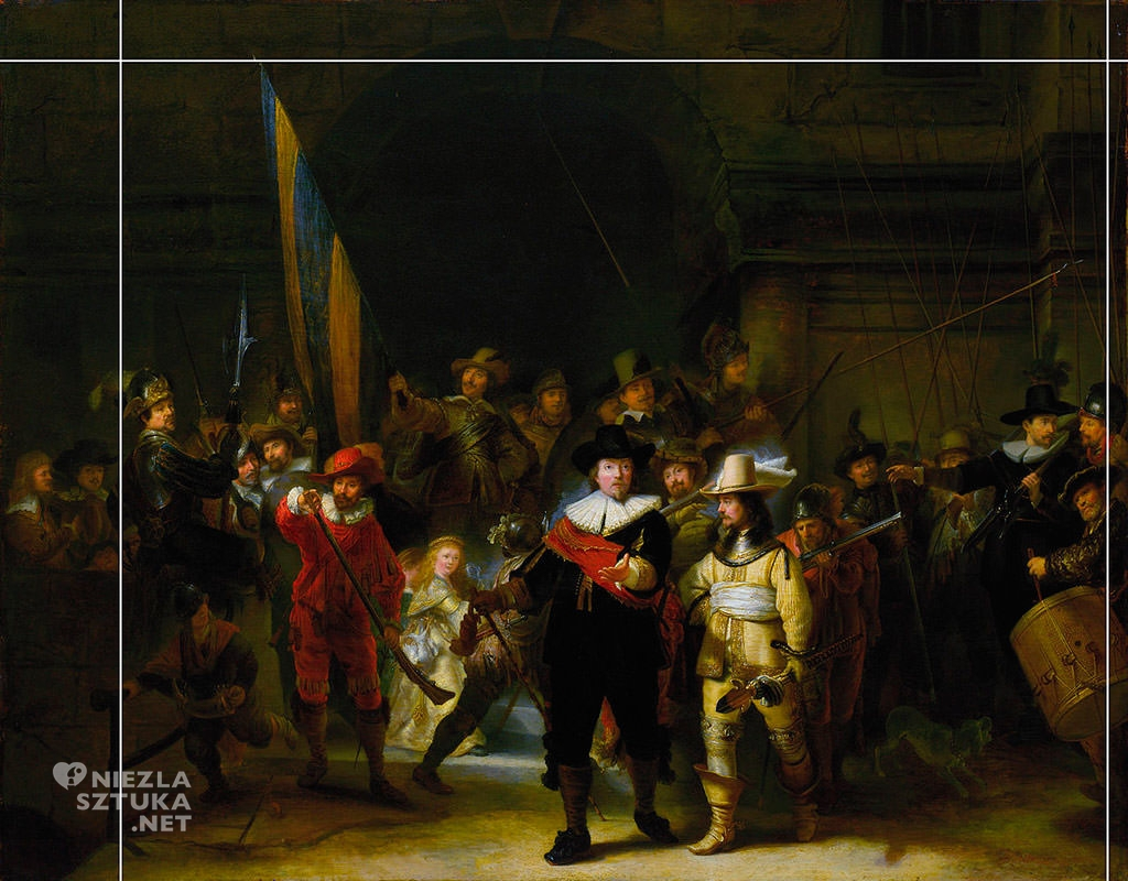 Linie przycięcia na Kopii obrazu Rembrandt <em>Oddział kapitana Fransa Banninga Cocqa (Straż nocna), </em> | 1642