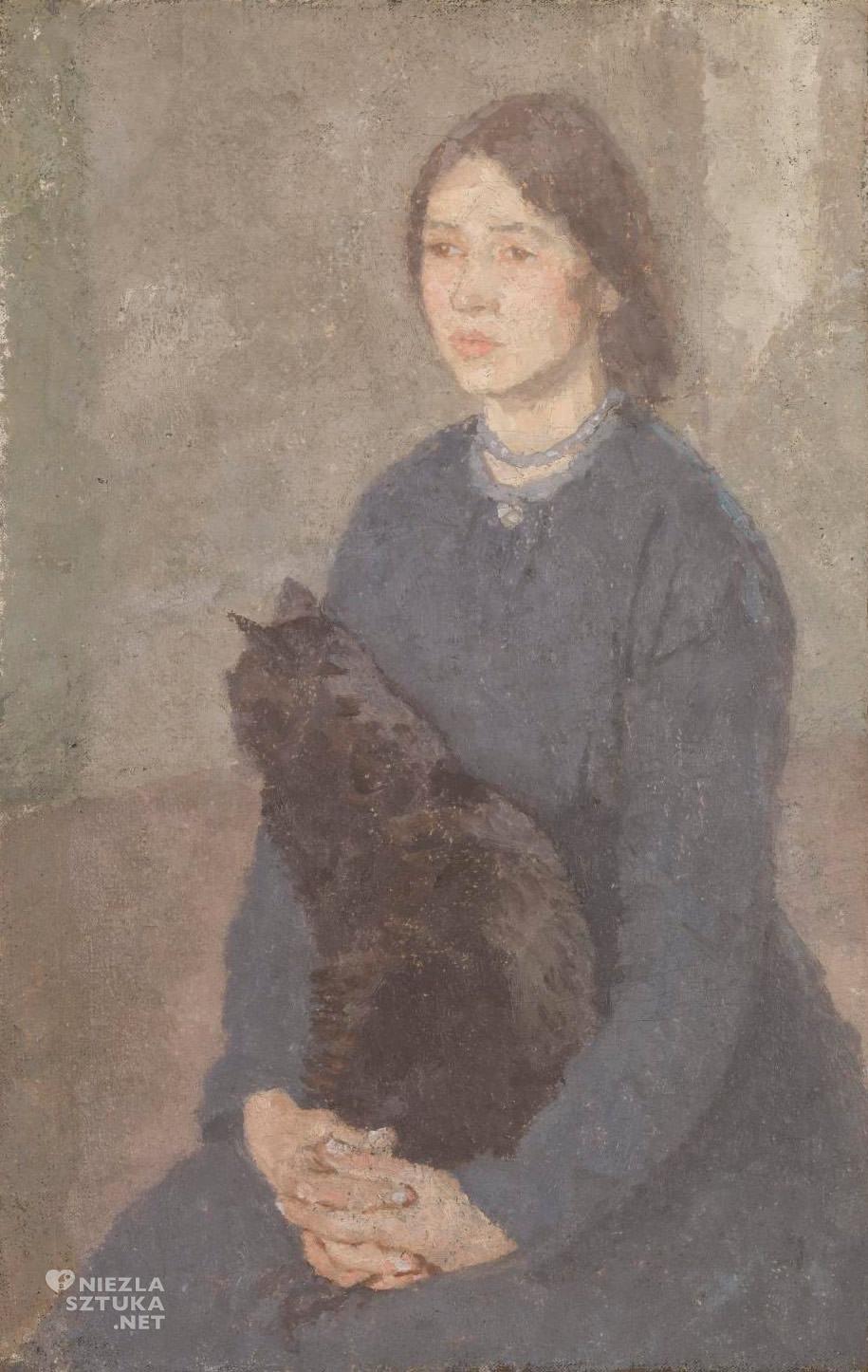 Gwen John, Młoda kobieta trzymająca czarnego kota, Tate, Niezła Sztuka