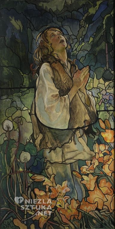 Kazimierz Sichulski, Tryptyk Wiosna I  (projekt witraża – część lewa), 1909, Muzeum Narodowe w Warszawie