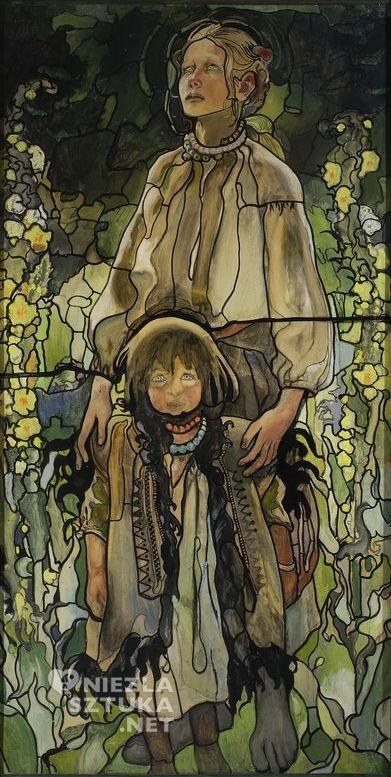 """Kazimierz Sichulski, Tryptyk """"Wiosna I"""" (projekt witraża – część środkowa), 1909, Muzeum Narodowe w Warszawie"""