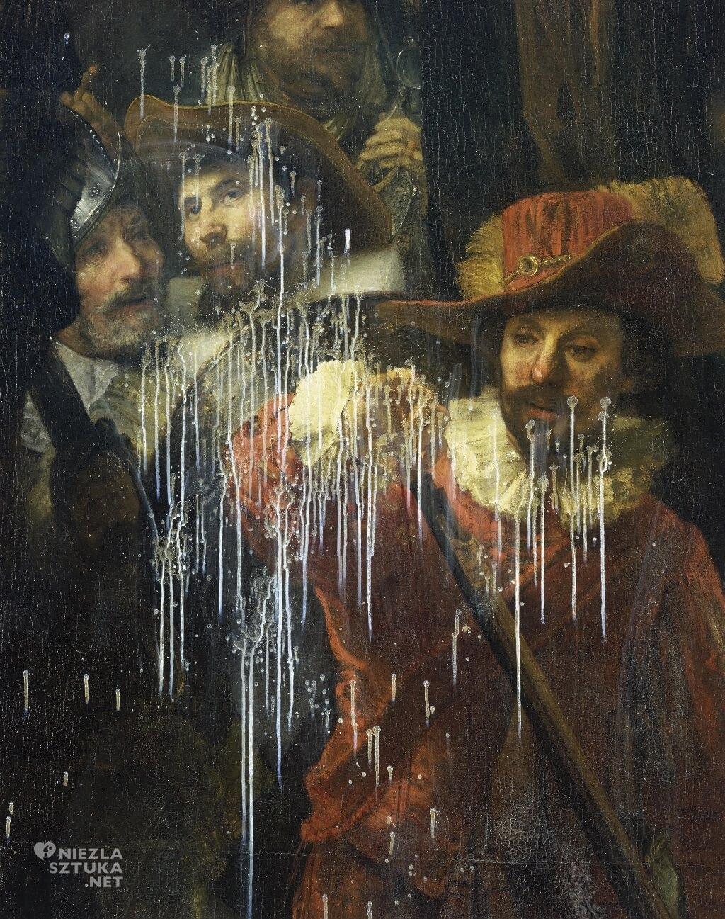 Atak kwasem na obraz <em>Straż nocna</em> w 1990, fot. Rijksmuseum