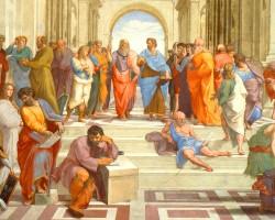 Rafael Santi, Szkoła ateńska 1509-1511, Fresk, Stanza Della Segnatura, Watykan, Niezła sztuka