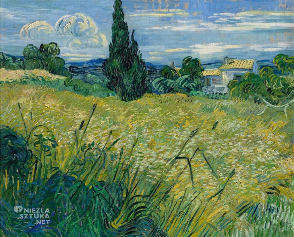 Vincent van Gogh, Zielone pole pszenicy z cyprysami, krajobraz, Niezła Sztuka