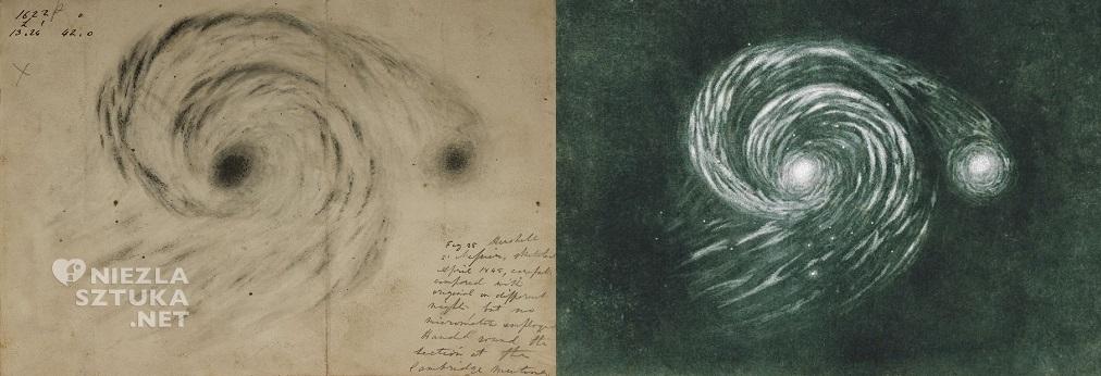 Rysunek Galaktyki M51 - William Parsons, 1845 rok // ilustracja z książki Camille Flammarion, Astronomie Populaire, 1880, Niezła sztuka