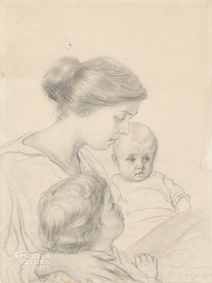 Ferdynand Ruszczyc, Portret żony z dziećmi, Janeczką i Edziem | 1916 , Muzeum Narodowe w Warszawie