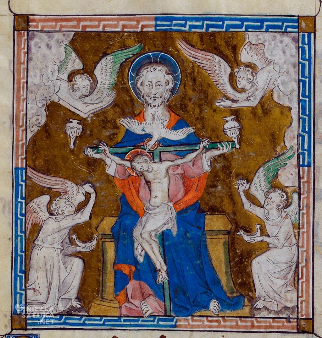 Tron łaski przestawienie ze średniowiecznego manuskryptu