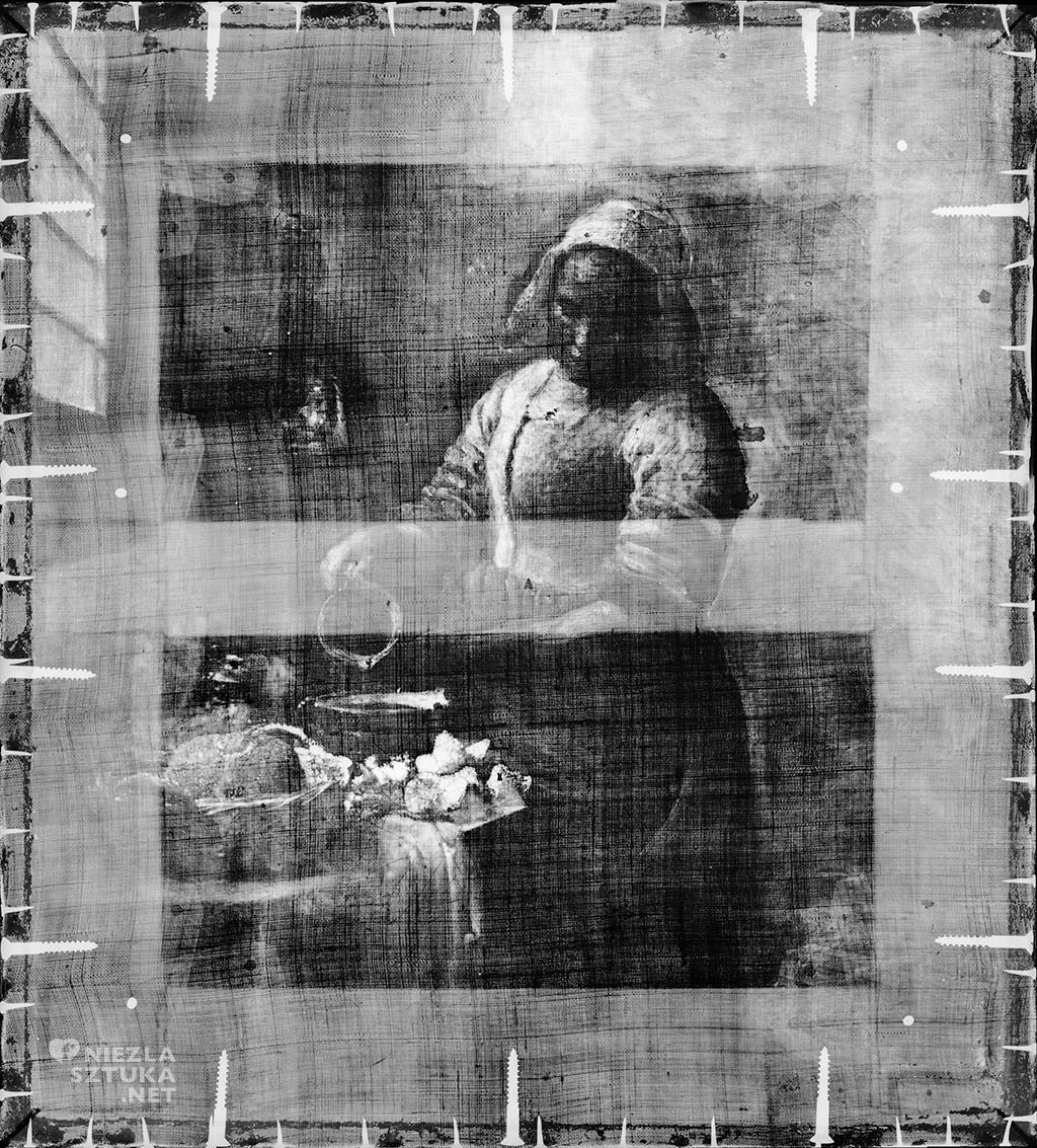 x-ray, Prześwietlenie roentgenowskie, Johannes Vermeer, Mleczarka, Amsterdam, Rijksmuseum, Niezła sztuka