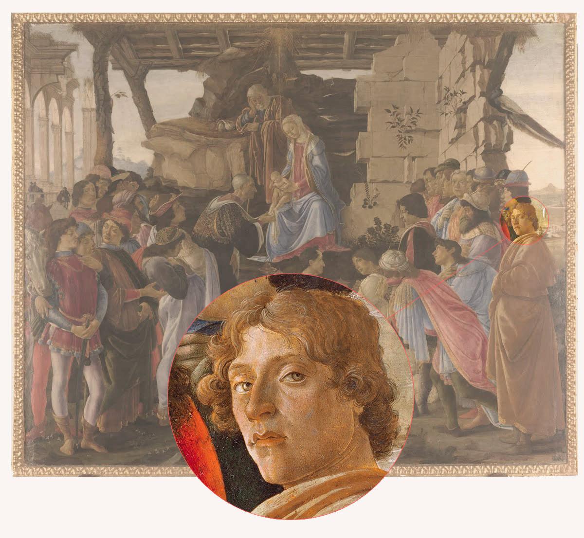 Sandro Botticelli, Autoportret</em> z obrazu <em> Pokłon Trzech Króli, ok. 1475, Galeria Uffizi, Florencja
