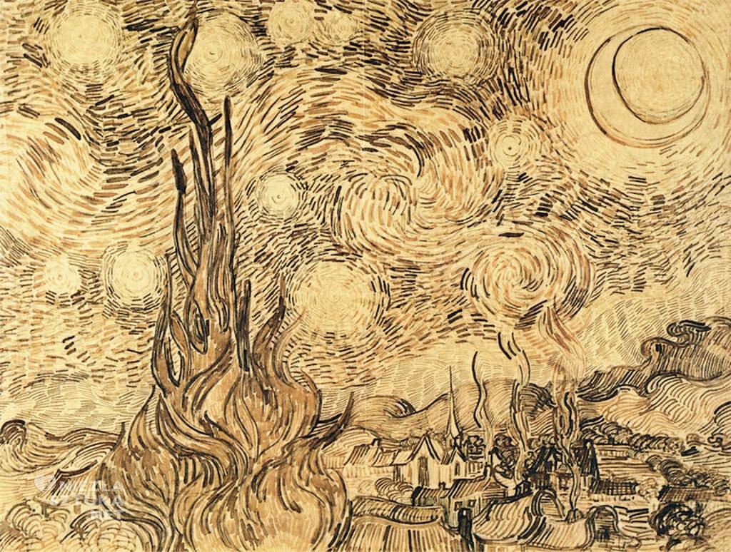 Vincent van Gogh, Gwiaździsta noc, szkic, Niezła Sztuka