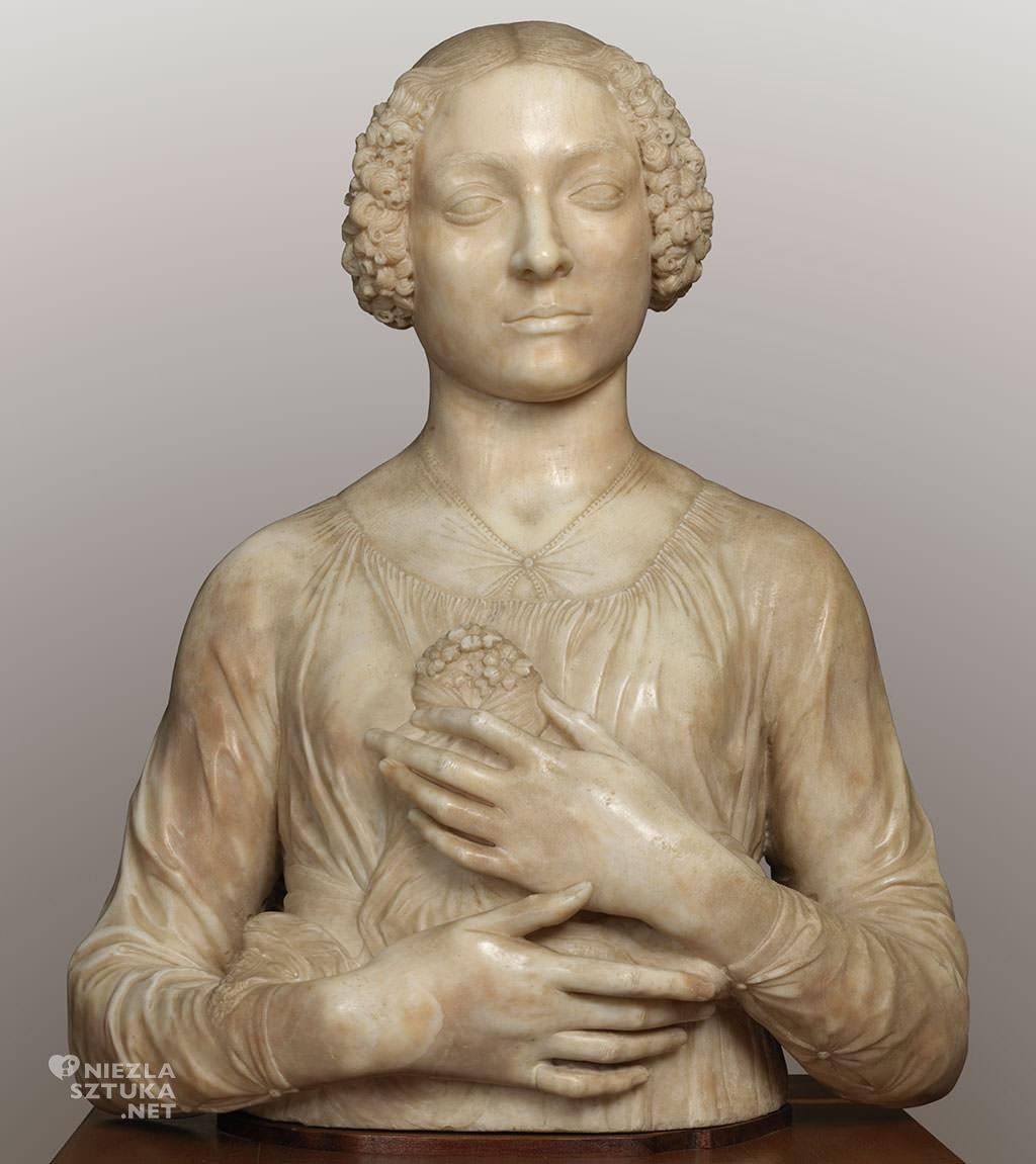 Andrea del Verrocchio, Dama z bukietem, rzeźba, sztuka włoska, Niezła sztuka