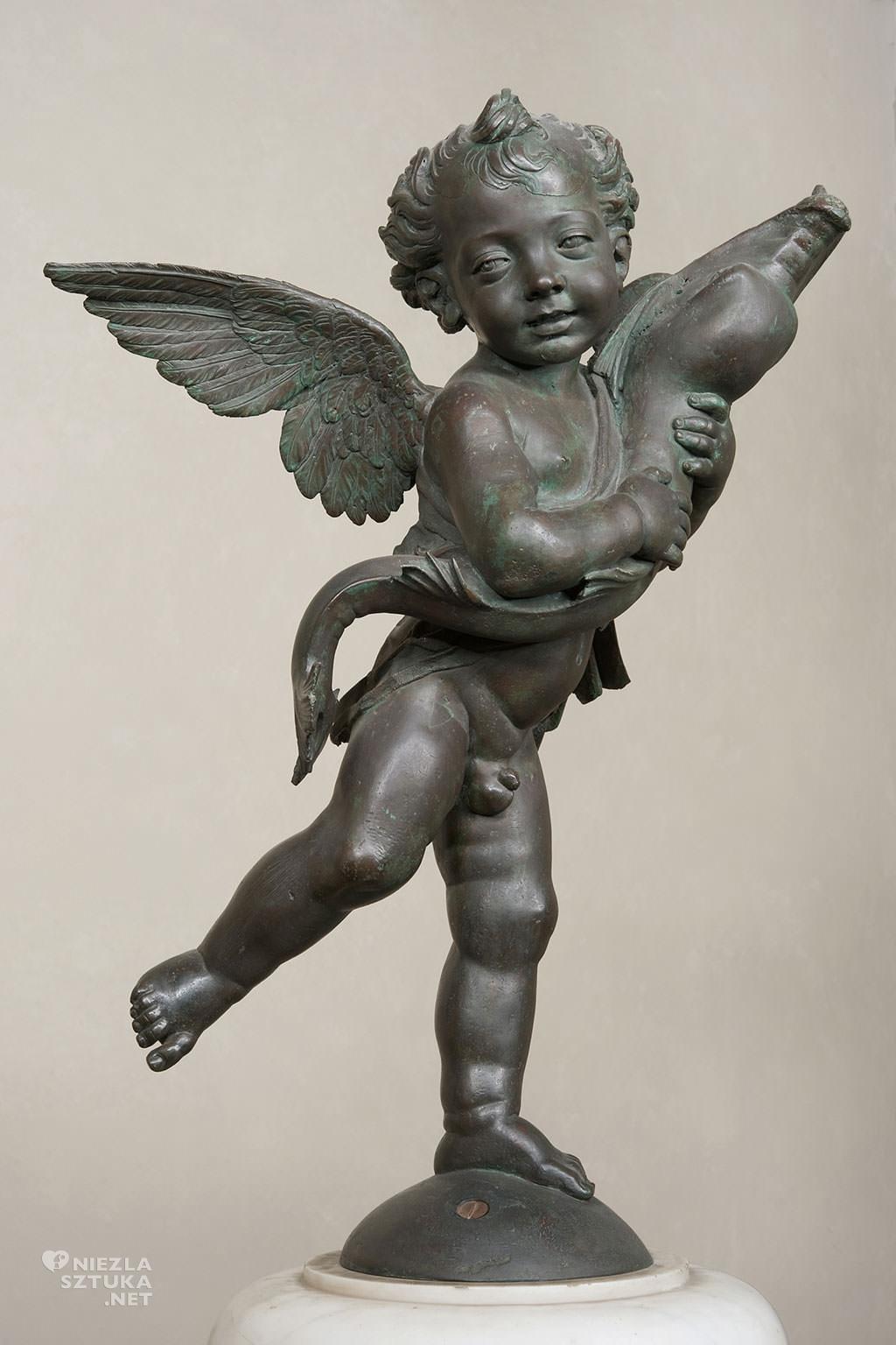 Andrea del Verrocchio, Putto z delfinem, rzeźba, sztuka włoska, Niezła sztuka