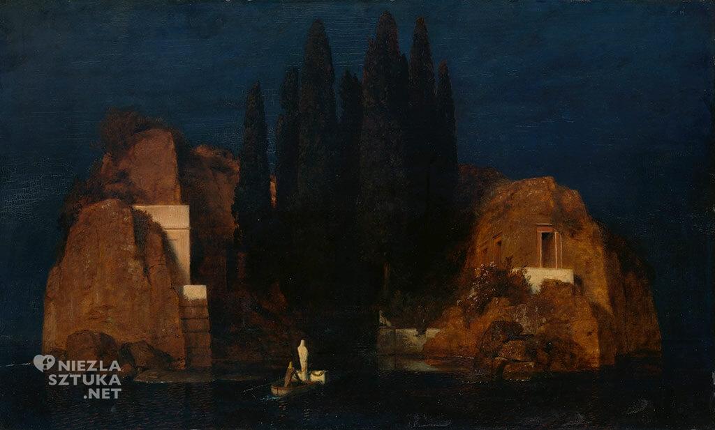 Arnold Böcklin, Wyspa umarłych, Metropolitan Museum of Art, Nowy Jork, mitologia, malarstwo mitologiczne, Niezła Sztuka