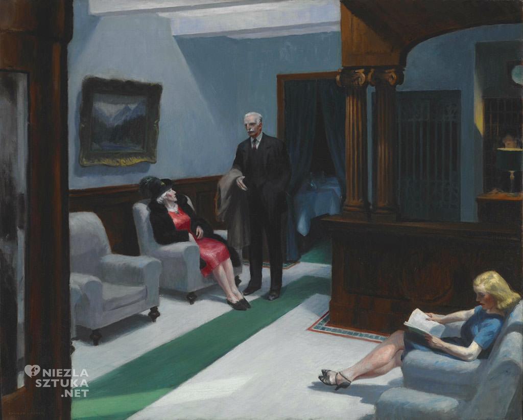 Edward Hopper, Hotel Lobby, malarstwo amerykańskie, scena rodzajowa, sztuka nowoczesna, Niezła Sztuka