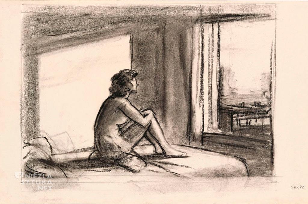 Edward Hopper, Morning sun. meoklasycyzm, modernizm, scena rodzajowa, malarstwo amerykańskie, Niezła Sztuka
