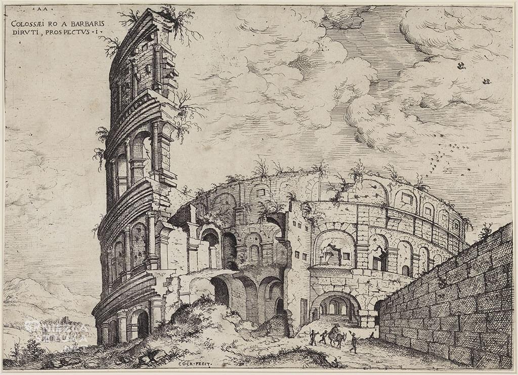 Hieronymus Cock, Koloseum, Rzym, Inspiracja Wieża Babel, Niezła sztuka