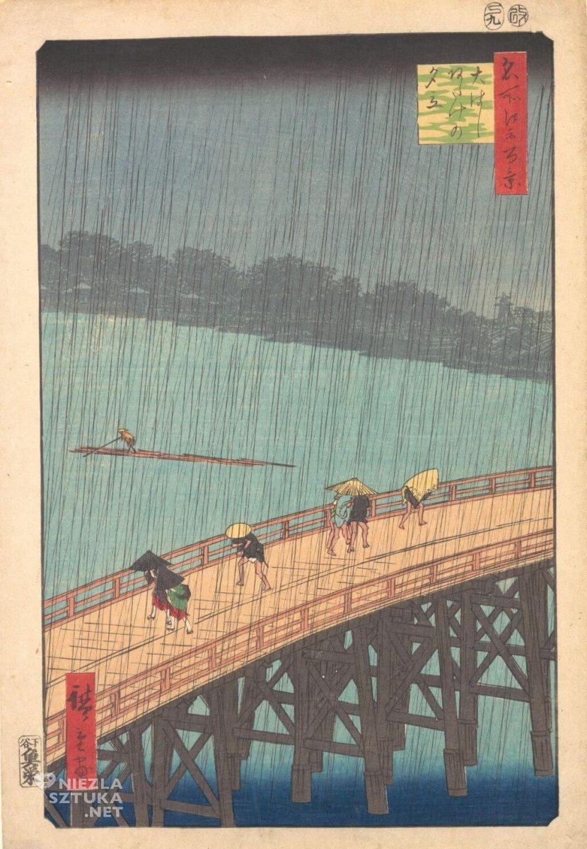 Utagawa Hiroshige, Wieczorna ulewa nad Wielkim Mostem w Adake, drzeworyt japoński, Niezła Sztuka