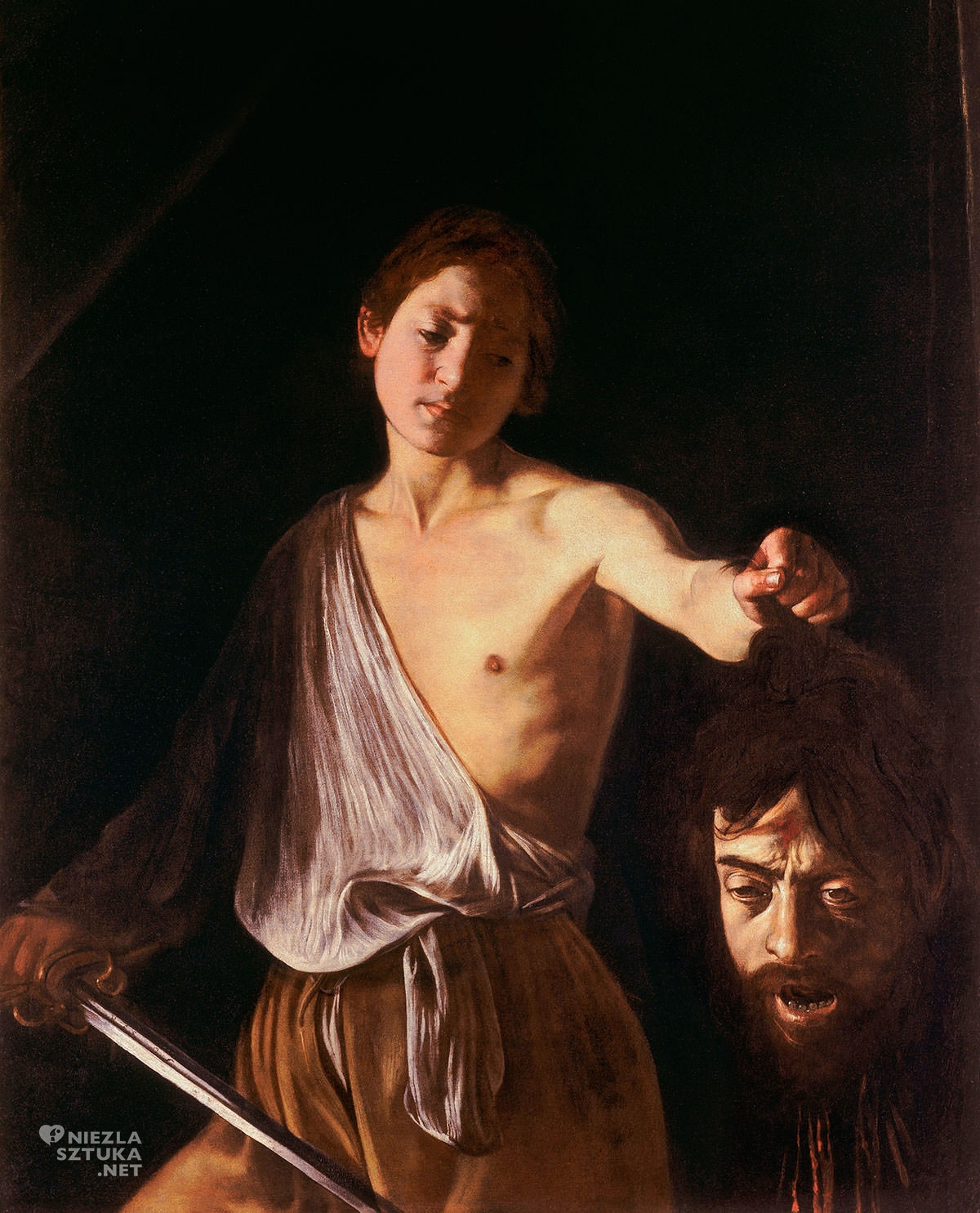 Caravaggio, Dawid z głową Goliata, Galeria Borghese, sztuka włoska, Niezła sztuka