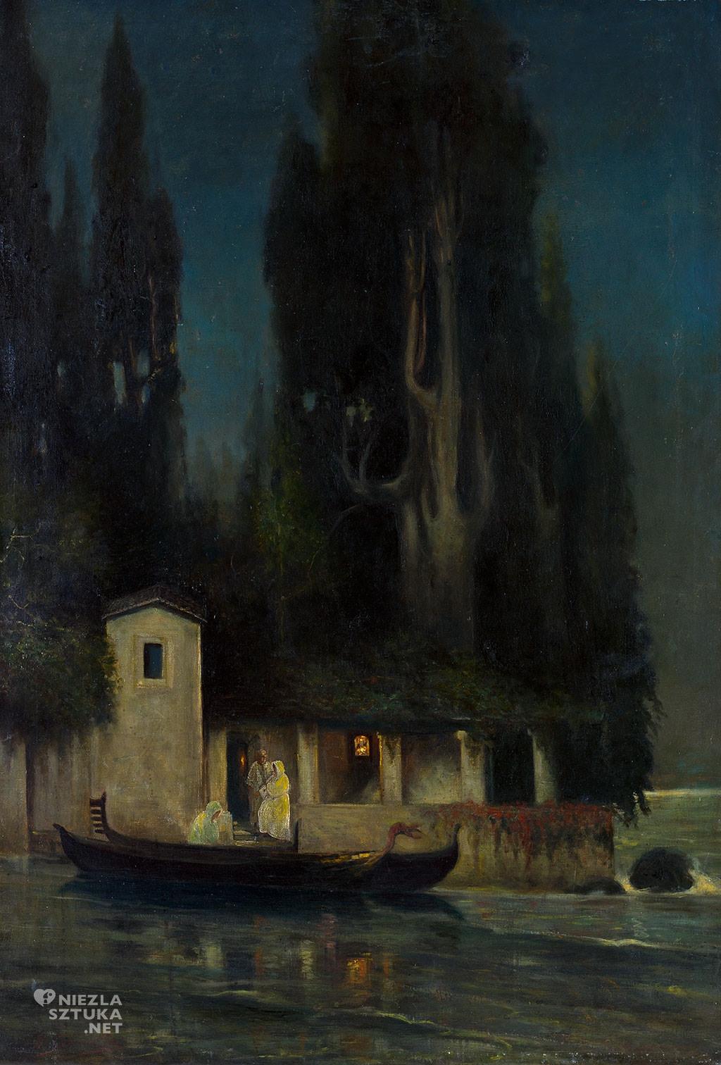 Henryk Siemiradzki, Odjazd z wyspy nocą (Wyspa śmierci), śmierć w sztuce, malarstwo polskie, Niezła Sztuka