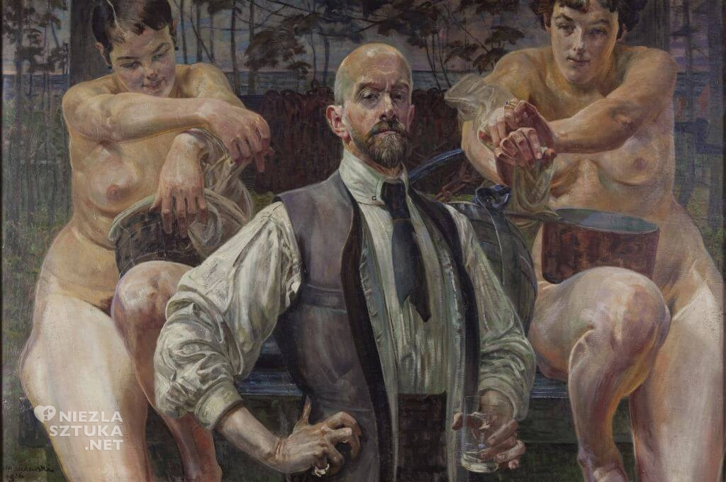 Jacek Malczewski, Zatruta studnia z autoportretem, Autoportret na tle studni, malarstwo polskie, Niezła Sztuka