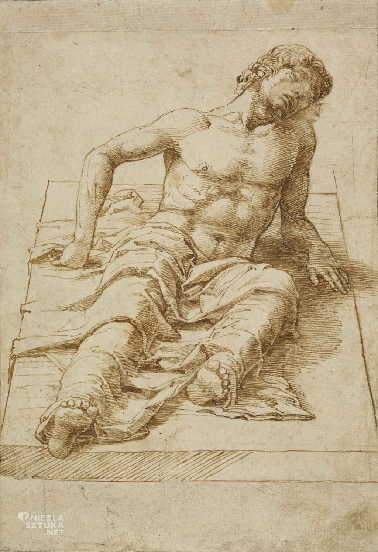 Andrea Mantegna, Leżący mężczyzna, rysunek, British Museum