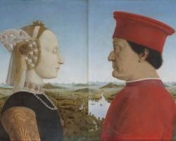 Piero della Francesca, Portret Federica da Montefeltro i jego żony Battisty Sforzy, Galleria degli Uffizi, Florencja, Niezła sztuka