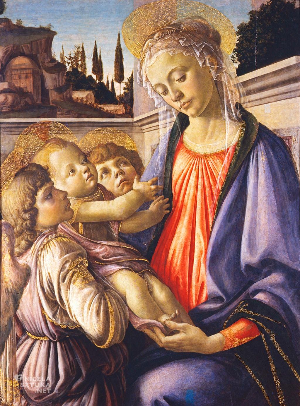 Sandro Botticelli, Madonna z Dzieciątkiem i dwoma aniołami, sztuka włoska, Niezła sztuka