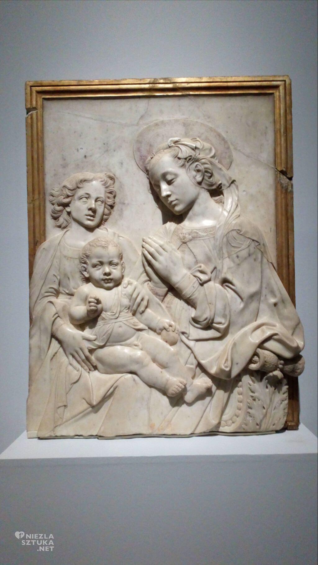 Andrea del Verrocchio i warsztat, Madonna z Dzieciątkiem i aniołem, płaskorzeźba, sztuka włoska, Niezła sztuka