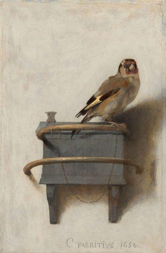 Carel Fabritius, Szczygieł, uczeń Rembrandta, malarstwo holenderskie, Mauritshuis, Haga, Niezła sztuka