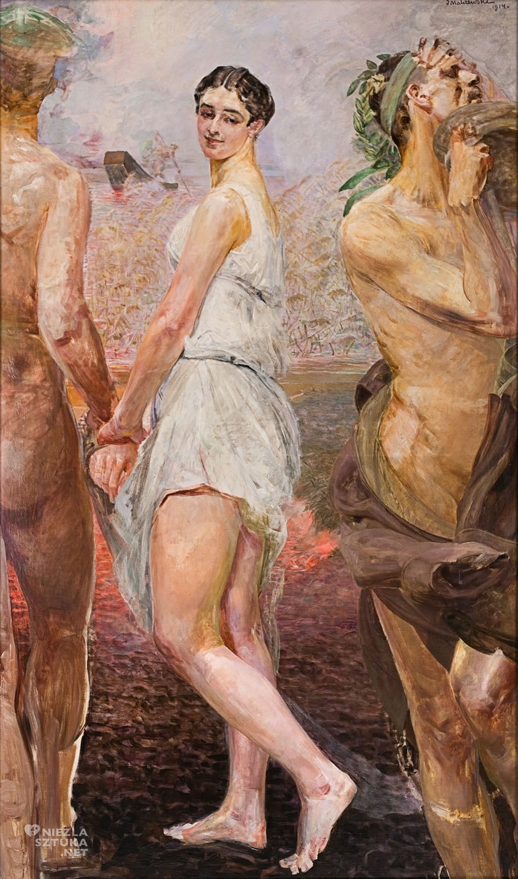 Jacek Malczewski, Orfeusz i Eurydyka | 1914, 197 × 120 cm, olej, płótno, kolekcja prywatna, Niezła sztuka