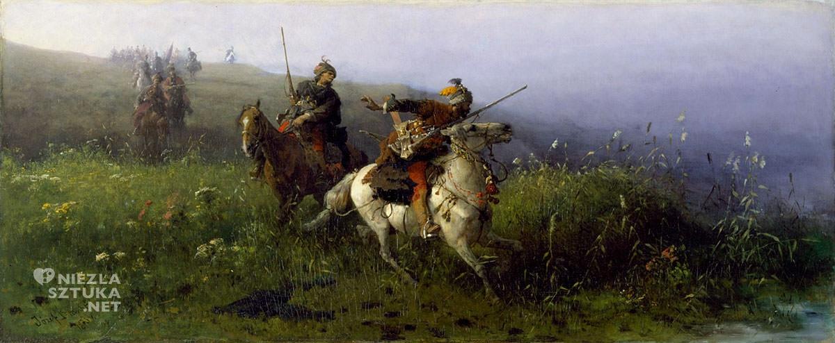 Józef Brandt, Na rekonesansie, sztuka polska, batalistyka, malarstwo polskie, malarstwo historyczne, Niezła sztuka