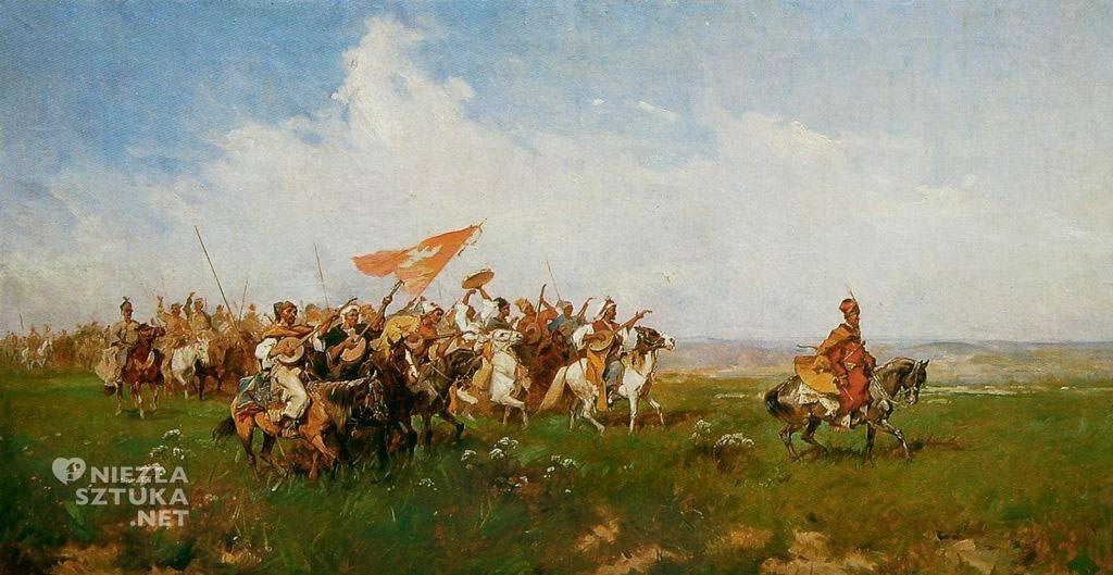 Józef Brandt, Powitanie stepu, sztuka polska, batalistyka, malarstwo polskie, malarstwo historyczne, Niezła sztuka