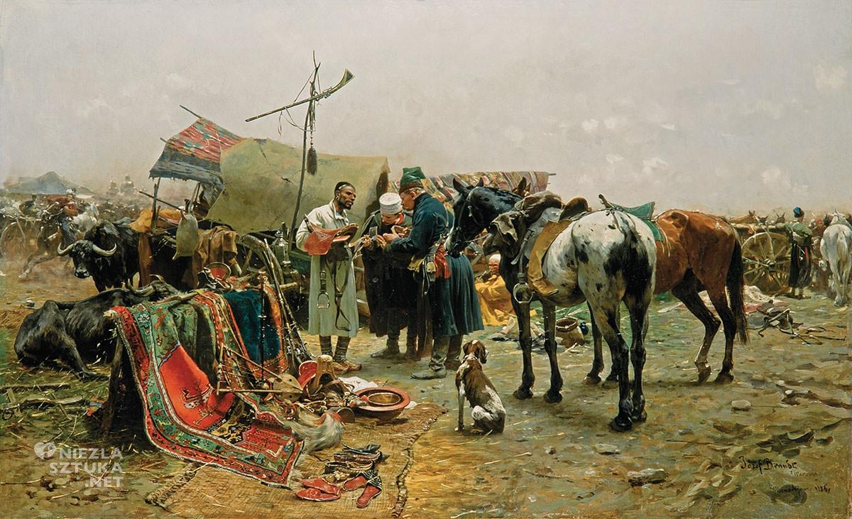 Józef Brandt, Jarmark w Bałcie na Podolu, sztuka polska, batalistyka, malarstwo polskie, malarstwo historyczne, Niezła sztuka