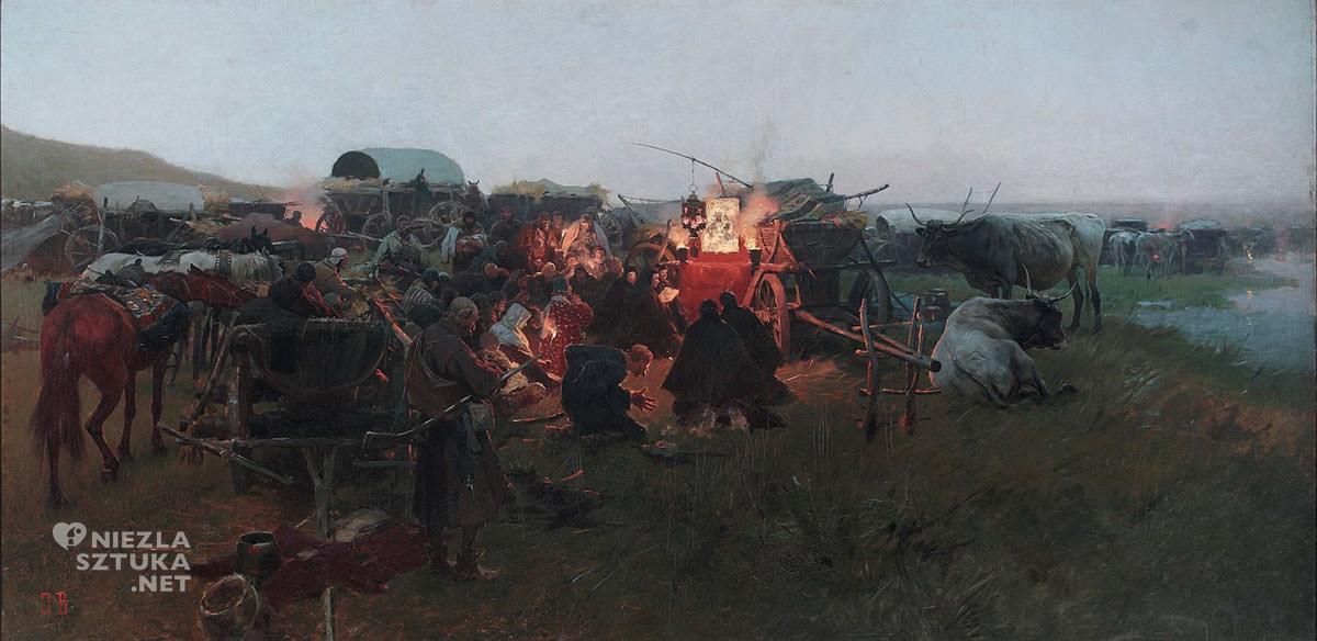 Józef Brandt, Modlitwa w stepie, 1894, Muzeum Narodowe w Warszawie, sztuka polska, batalistyka, malarstwo polskie, malarstwo historyczne, Niezła sztuka