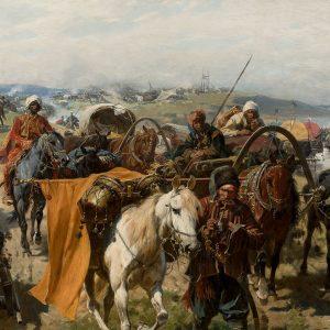 Józef Brandt, Obóz Zaporożców, sztuka polska, batalistyka, malarstwo polskie, malarstwo historyczne, Niezła sztuka