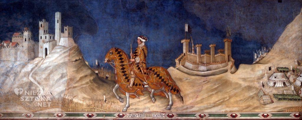 Simone Martini, Guidoriccio da Fogliano, sztuka włoska, Palazzo Pubblico, Siena, Niezła sztuka