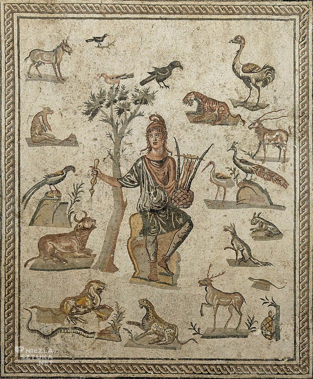 Orfeusz czarujący zwierzęta, rzymska mozaika, III w. p.n.e., Niezła sztuka