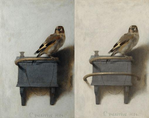 Carel Fabritius, <em>Szczygieł</em>, symulacja pierwotnej wersji, fot, na podstawie puttertje.mauritshuis.nl
