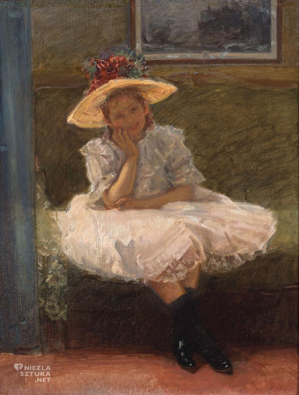 Władysław Podkowiński, Dziewczynka w kapeluszu, dziecko w sztuce, malarstwo polskie, Niezła sztuka