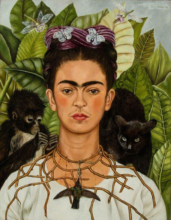 Frida Kahlo, Autoportret z cierniowym naszyjnikiem i kolibrem, autoportret, kobiety w sztuce, sztuka meksykańska, sztuka prymitywna, Niezła Sztuka