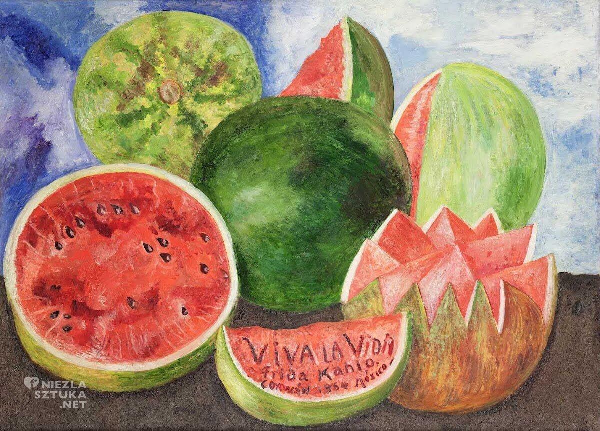 Frida Kahlo, Viva La Vida   1954, olej, deska, 52 × 72, Muzeum Fridy Kahlo, Meksyk, Niezła sztuka