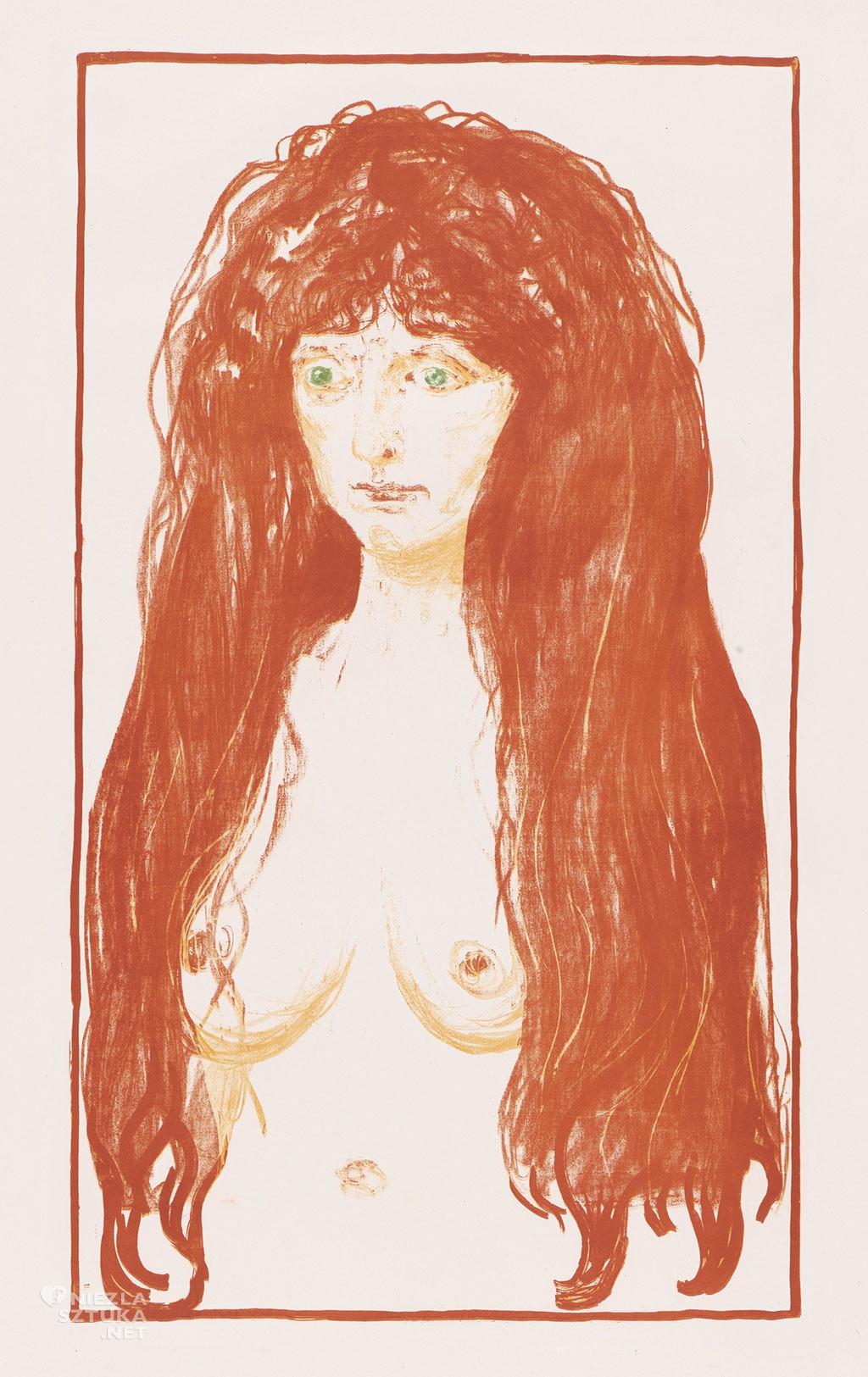Edvard Munch, Grzech, Kobieta o rudych włosach i zielonych oczach, Tulla Larsen, Niezła sztuka