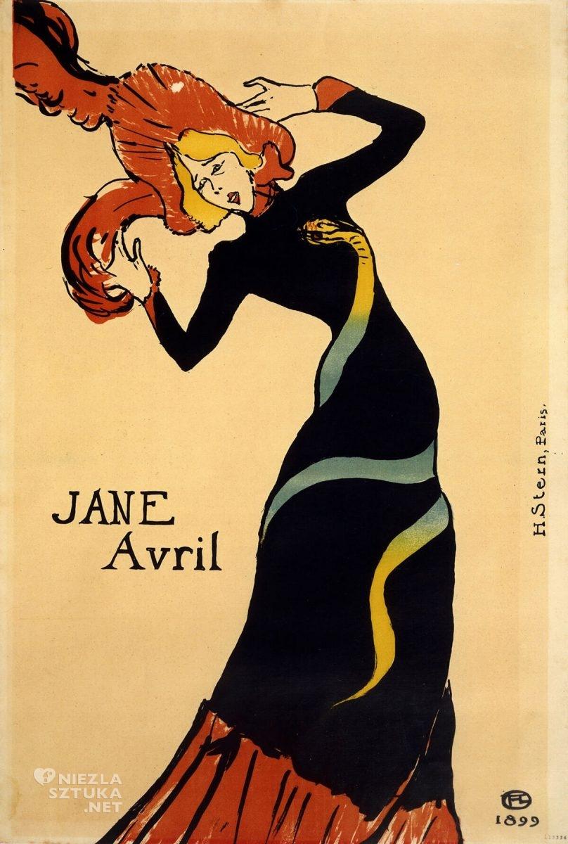 Henri de Toulouse-Lautrec, Jane Avril, sztuka francuska, Moulin Rouge, plakat, Niezła sztuka