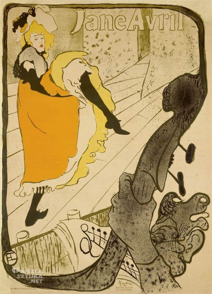 Henri de Toulose-Lautrec, Jane Avril, plakat, sztuka francuska, malarstwo francuskie, Niezła Sztuka
