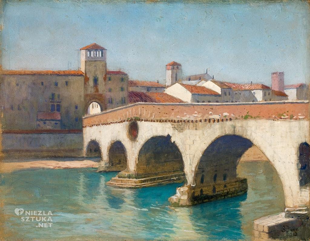 Soter Jaxa-Małachowski, Ponte Pietra w Weronie, Włochy, sztuka polska, malarstwo polskie, Niezła sztuka