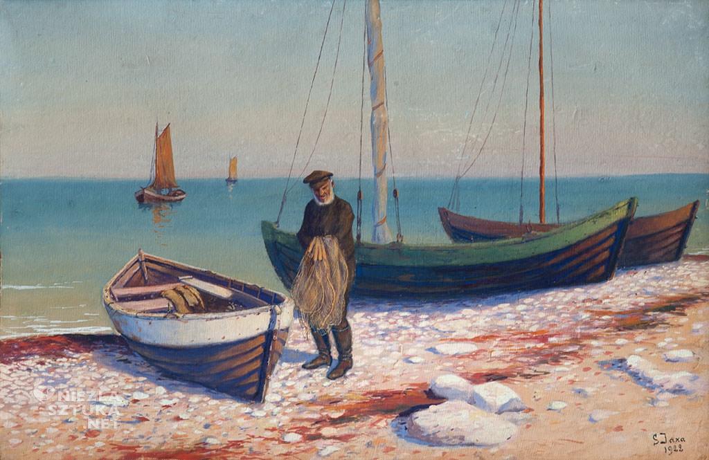 Soter Jaxa-Małachowski, Stary rybak, morze, łodzie, sztuka polska, malarstwo polskie, Niezła sztuka