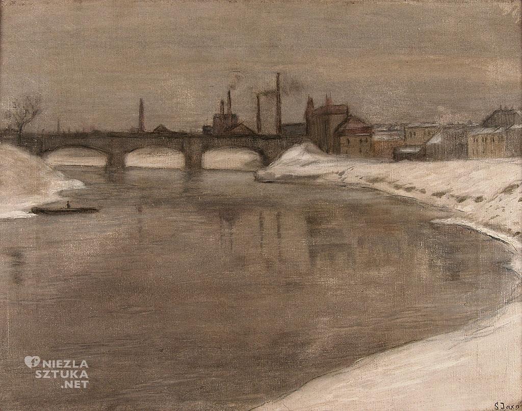 Soter Jaxa-Małachowski, Widok mostu Podgórskiego, malarstwo polskie, sztuka polska, Niezła sztuka