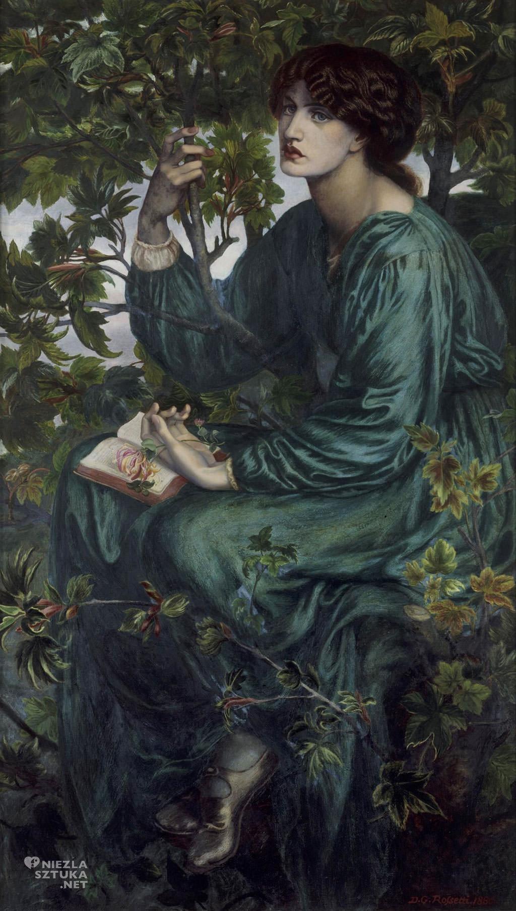 Dante Gabriel Rossetti, Jane Morris, Prerafaelici, The Day dream, Victoria and Albert Museum, Londyn, Niezła sztuka