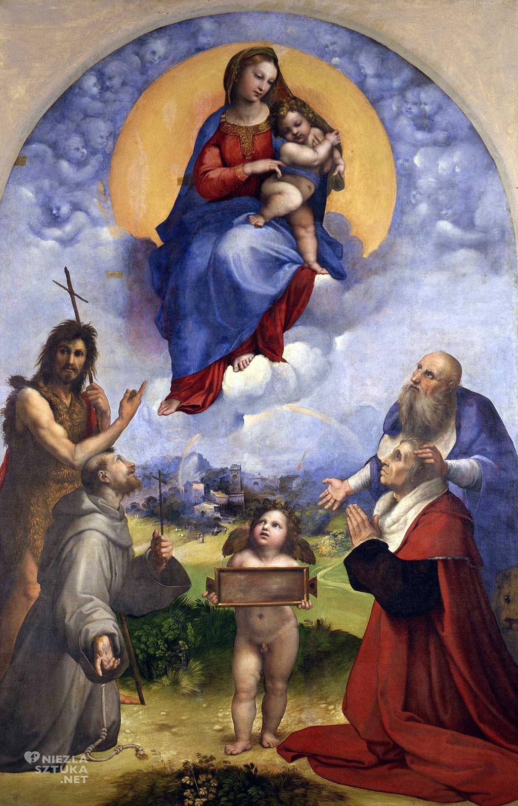 Rafael Santi, Madonna di Foligno, Watykan, sztuka włoska, malarstwo włoskie, Niezła sztuka
